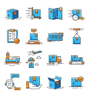 ロジスティックおよび配信サービスのアイコンのセット