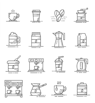 コーヒーとアウトラインスタイルのコーヒーショップアイコンのセット