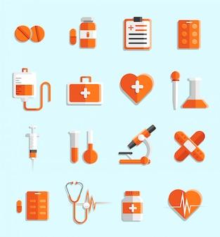 シンプルなフラット医学アイコンと要素のセット