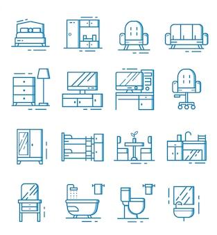 Набор мебели иконок с контуром стиля