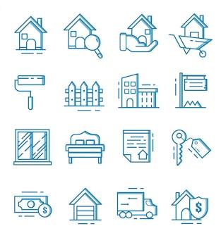 Набор иконок недвижимости с стиль контура