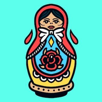 かわいいボウリングピン人形オールドスクールタトゥーベクトル