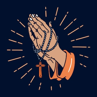 祈りの手古い学校の入れ墨