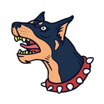 怒っているドーベルマン犬のクリップアート