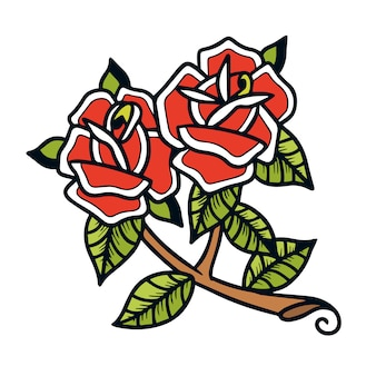 バラの古い学校の入れ墨のペア