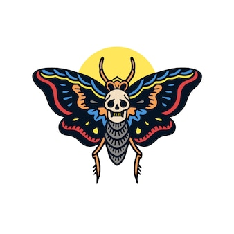Нарисованная рукой милая иллюстрация татуировки старой моли