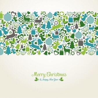 平らな要素を持つクリスマスの背景