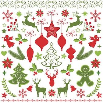 フラットクリスマス要素の背景