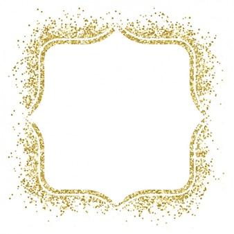 紙吹雪で作られた素敵な金色のフレーム