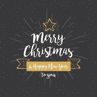 金色の詳細とクリスマスのための手描きの背景