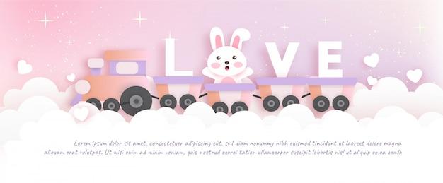 День святого валентина баннер с милым кроликом в бумаги вырезать и стиль ремесла.