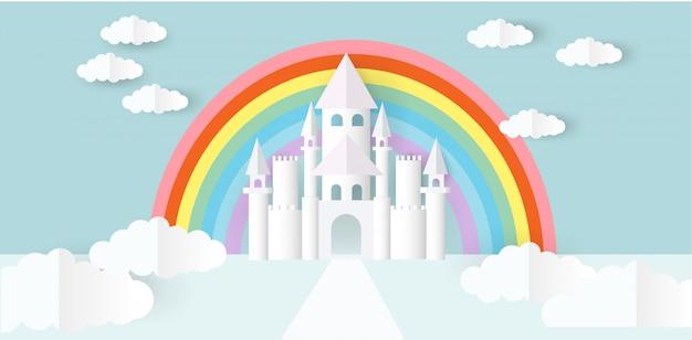 紙のカットスタイルの白い城。