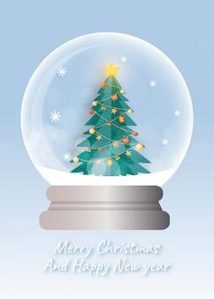 Рождественская елка в снежном шаре для рождественской открытки в стиле вырезки из бумаги