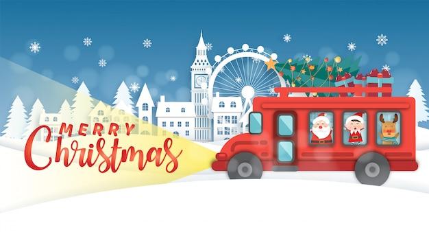 赤いバスとロンドンのクリスマスの背景