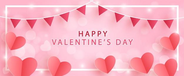 День святого валентина баннер с сердечками в стиле бумаги вырезать и ремесло.