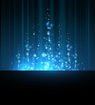 Абстрактная голубая северная сияющая предпосылка неясных линий звезды. темное небо