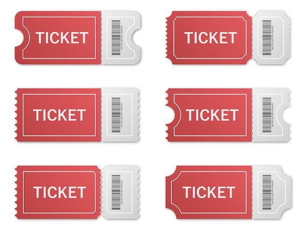 Набор реалистичных бумажных билетов с тенью.