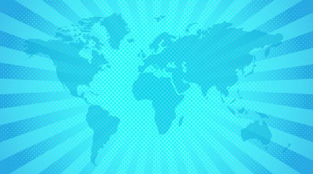 世界地図の背景。明るい青色の背景