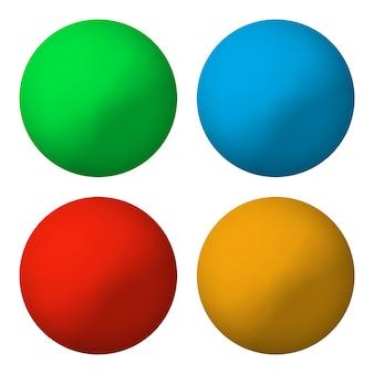 色の丸いボタンのセット。図。