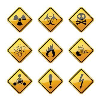 Набор предупреждающих знаков опасности. иллюстрации.