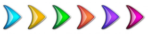 光沢のある矢印のセットです。分離した抽象的なベクトル矢印。