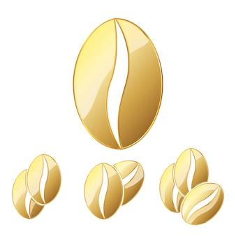 Золотые кофейные зерна. иллюстрация