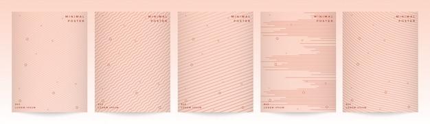 Минимальный современный дизайн обложки с абстрактным геометрическим набором фона линии