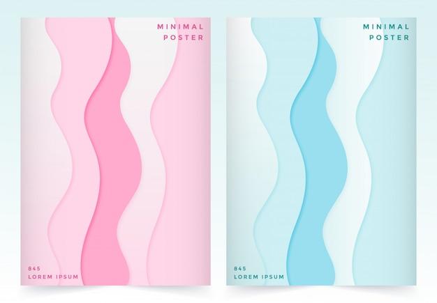 Векторный набор дизайн обложки с резкой бумаги абстрактный