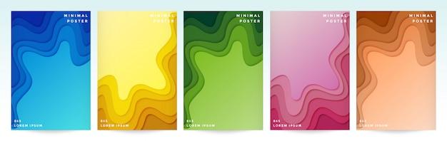 Набор шаблонов плакатов в стиле бумаги вырезать