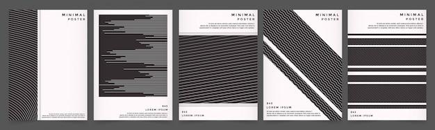 スタイルの黒い色で設定された抽象的な幾何学的なラインカバー