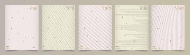 抽象的な幾何学的なラインセットと最小限のモダンなカバーデザイン