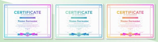 グラデーションでエレガントな証明書卒業証書レトロビンテージ
