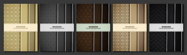 抽象的な黒とゴールド色の最小限のカバーパターン設計