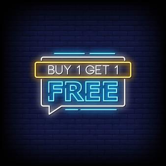 Купить один получить один бесплатный неоновые вывески стиль текста вектор