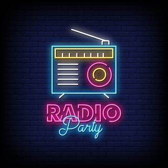 レンガの壁にラジオパーティーネオン看板