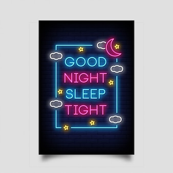 おやすみなさいネオンスタイルのポスターのタイト
