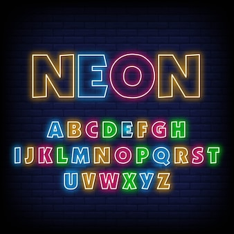 Алфавит неоновая вывеска