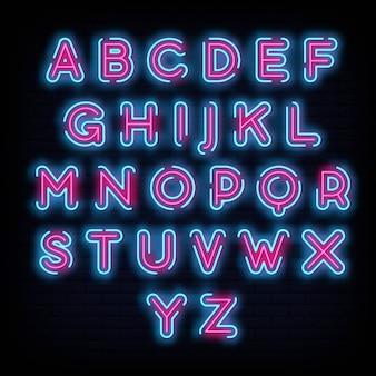 Алфавит шрифт типография неоновая вывеска стиль