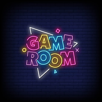 Игровая комната неоновые вывески стиль текста вектор