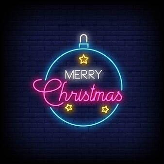 メリークリスマスネオンサインスタイルテキストベクトル