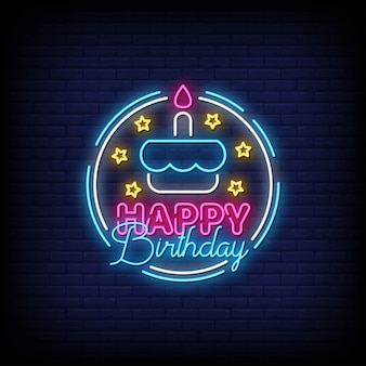 С днем рождения неоновые вывески стиль текст