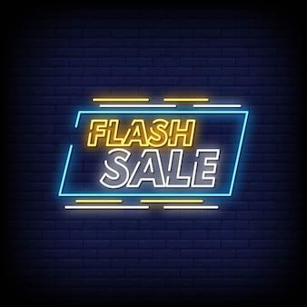 Флэш-продажа неоновая вывеска стиль текста вектор