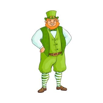 Толстый, пухлый ирландец в традиционной зеленой одежде