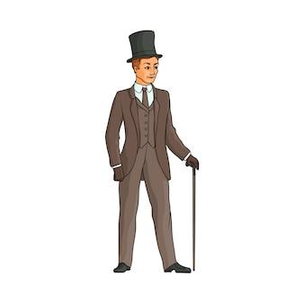 杖を持って歩く背の高い帽子の英国紳士