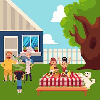 庭の図にバーベキューピクニックを持つ幸せな家族