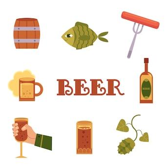 フラットスタイルのカラフルなビール関連アイコンのセット