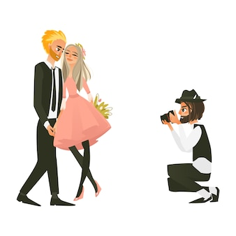 愛のカップルの写真を作るカメラマン