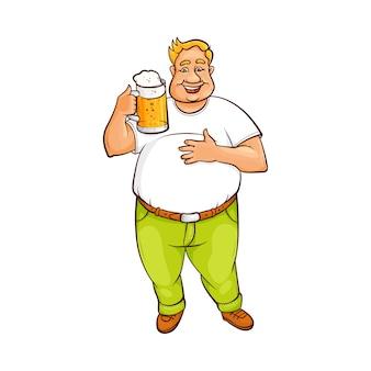 ビールの大きなマグカップを保持している面白い笑顔デブ男