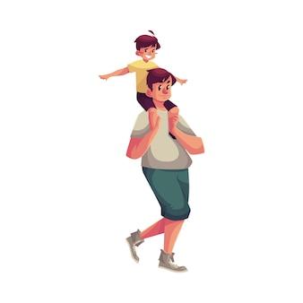 Маленький мальчик сидит на плечах отца и делает вид, что самолет