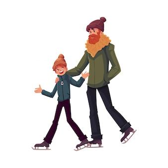 Счастливый отец и сын вместе на коньках